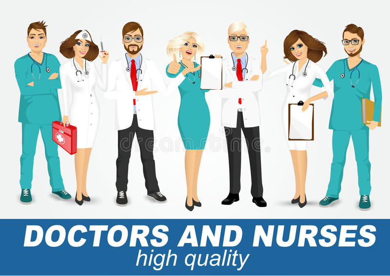 Group of doctors and nurses set vector illustration