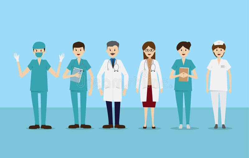 Group doctors nurses staff people medical team. Flat character set vector illustration