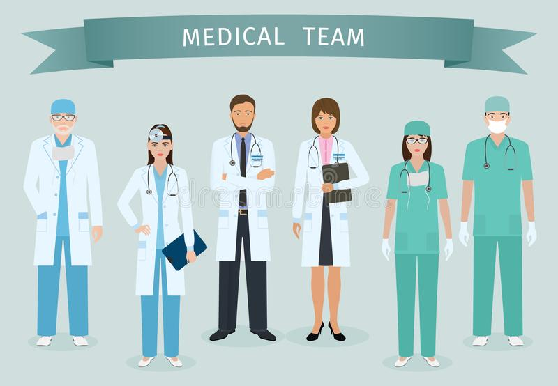 Group of doctors and nurses standing together with award ribbon. Medical people. Hospital staff. royalty free illustration