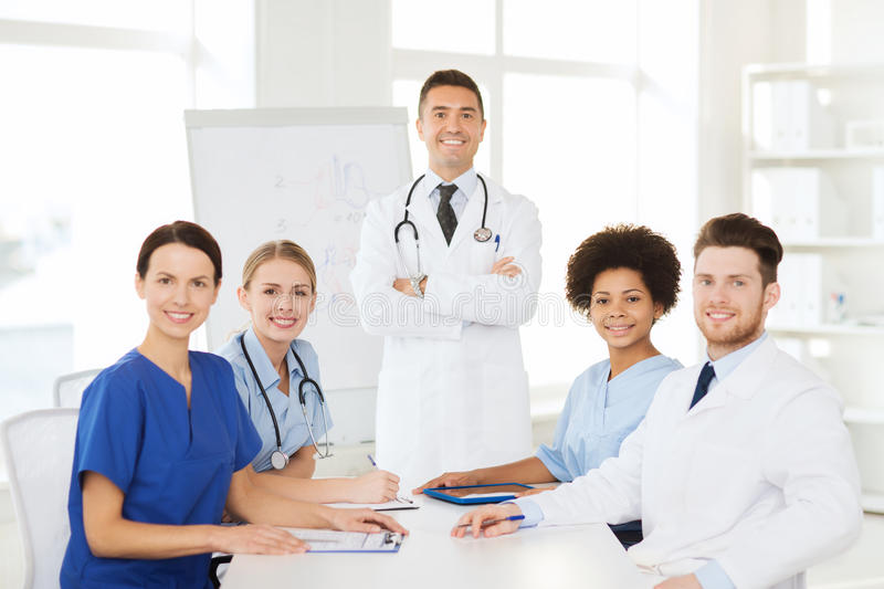 Group Of Doctors On Presentation At Hospital Stock Image ...
