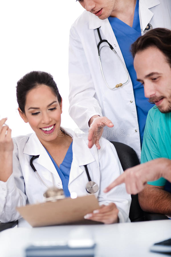 Group of doctors working together royalty free stock photography
