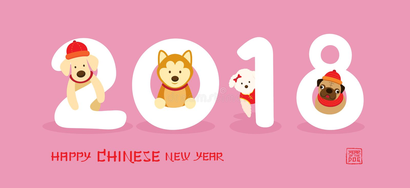 Download Group Of Dog With 2018 Number Stock Vector - Illustration of character, banner: 107557087