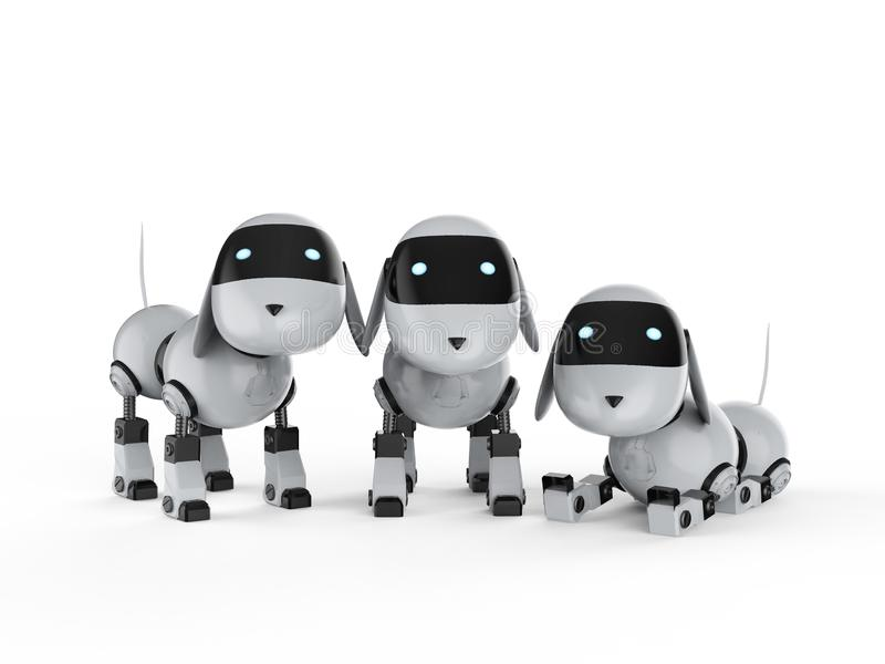 Group of dog robots royalty free illustration