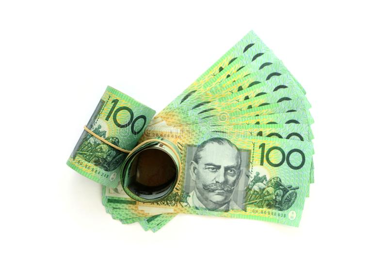 Group of 100 dollar Australian notes expand and roll on white background stock image