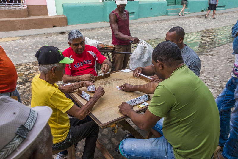 Group of domino players in Cuba royalty free stock image