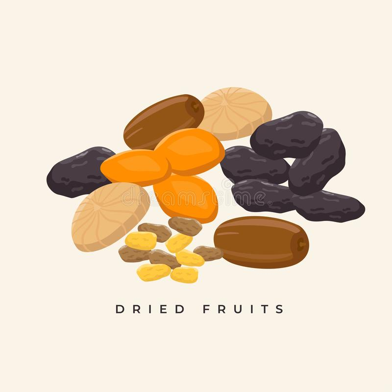 Group of dried fruits vector illustration in flat design. Healthy snacks concept illustration. Group of dried fruits vector illustration in flat design. Healthy vector illustration