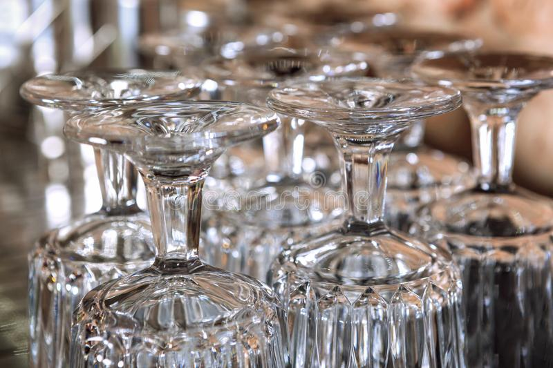 Group of drinking glasses turned upside down. royalty free stock image