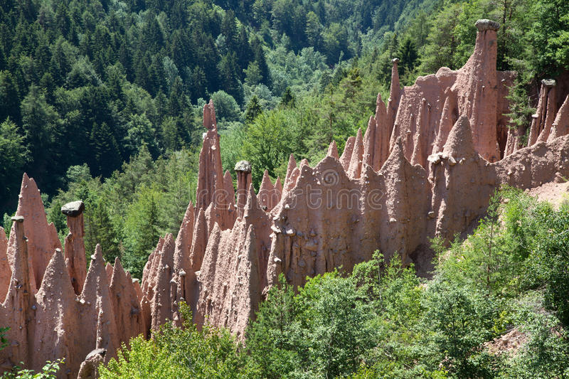 Group of Earth Pyramids in Italy stock photos