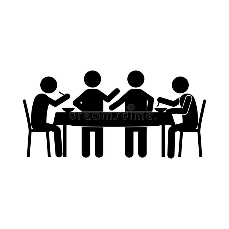 group eating, friends eating in restaurant icon. Element of dinner in a restaurant illustration. Premium quality graphic design stock illustration