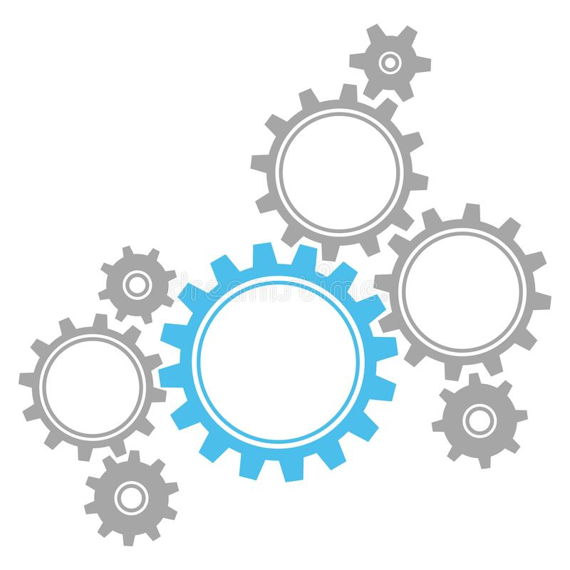Eight Graphic Gears Blue And Gray. Group Of Eight Graphic Gears Blue And Gray Symbolizing Teamwork royalty free illustration