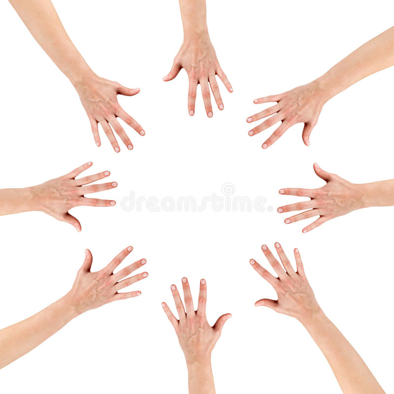 Group of eight hands at the circle together royalty free stock photography