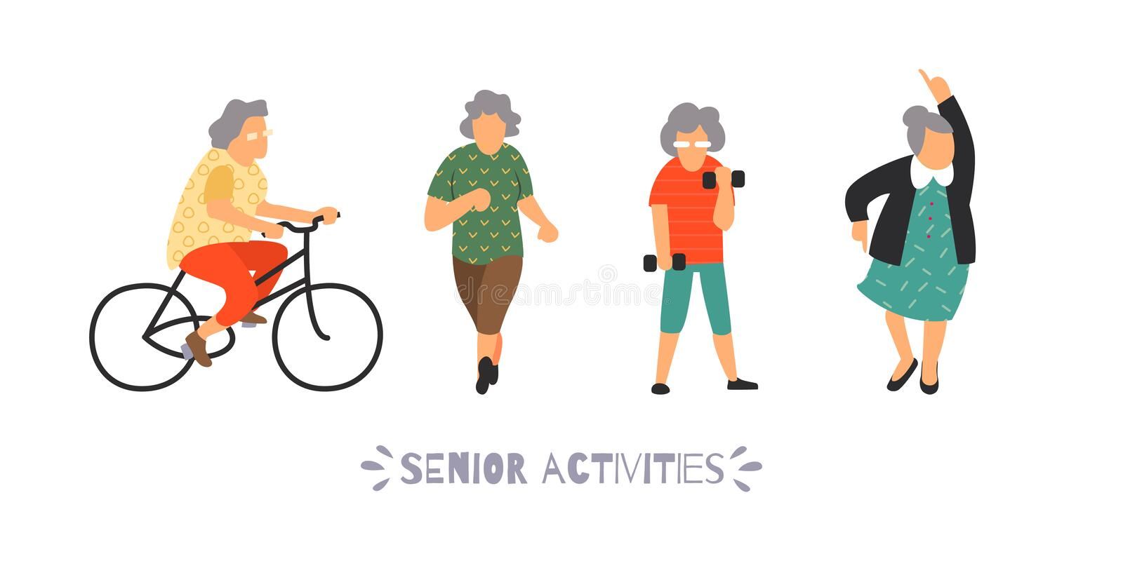 Group of elderly people go in for sports. Senior outdoor activities set. Recreation and leisure elderly persons concept stock illustration