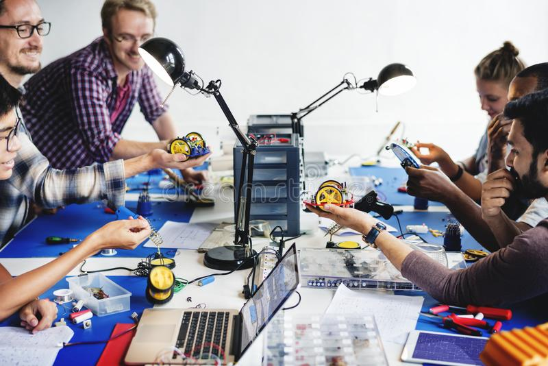 Group of electronic technician workshop stock image