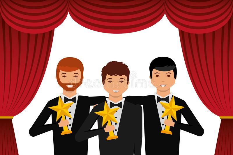 Group elegant actors holding gold trophies star in the theater. Vector illustration stock illustration