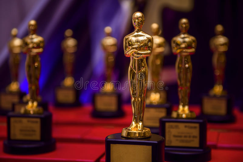 Group of Elegant Golden Prizes stock image