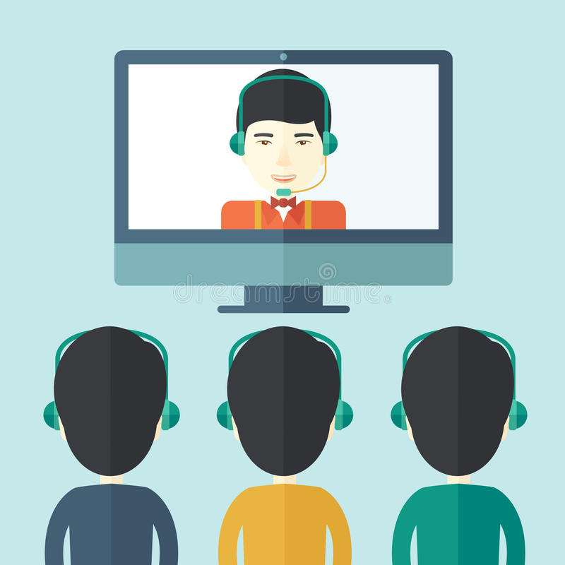 Group of employees with chinese guys in online. A group of employees with chinese guys in computer wearing headphones having a business on line conference and royalty free illustration