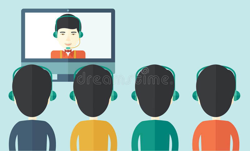 Group of employees with chinese guys in online. A group of employees with chinese guys in computer wearing headphones having a business on line conference and stock illustration