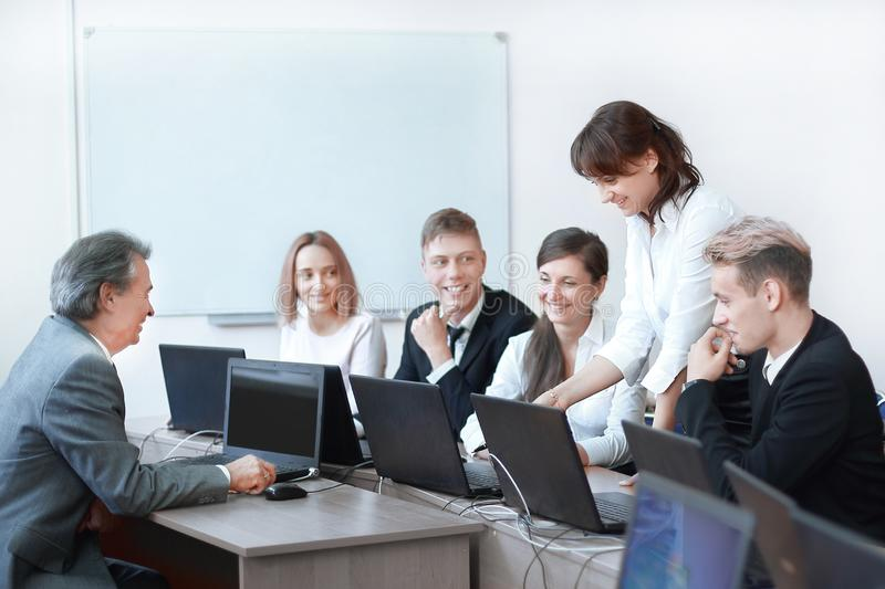 Group of employees making excellent business decisions stock images