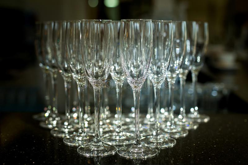 Group of empty champagne glasses. stock images