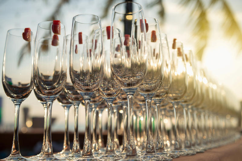 Group of empty cocktail glasses royalty free stock photo