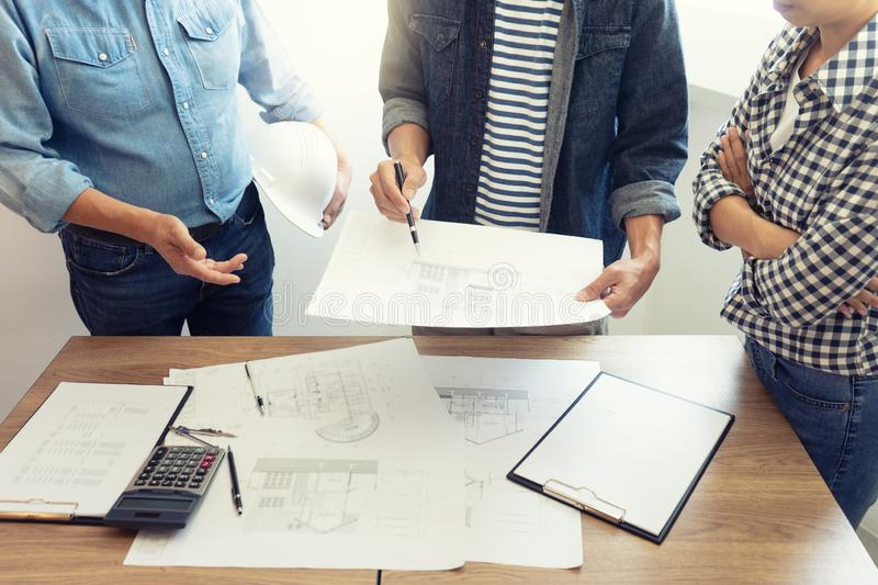 Group of engineering or architect royalty free stock photos