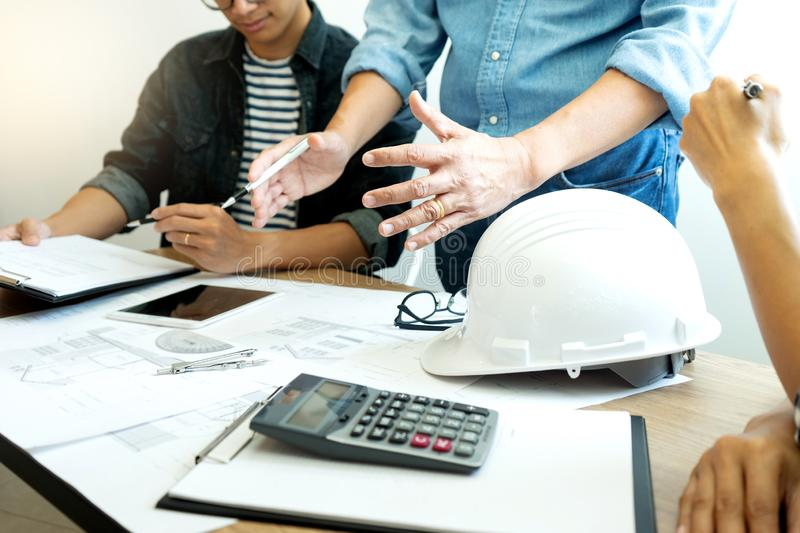 Group of engineering or architect stock photography