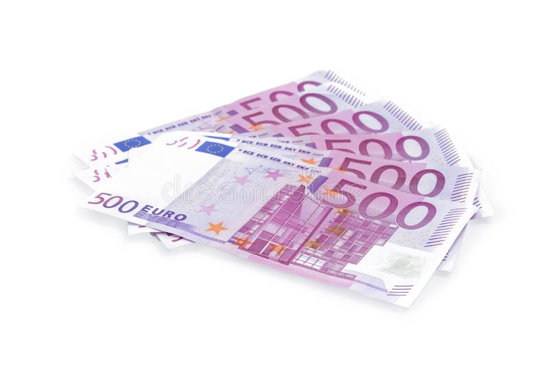Group of 500 Euro banknotes isolated on white background stock photography