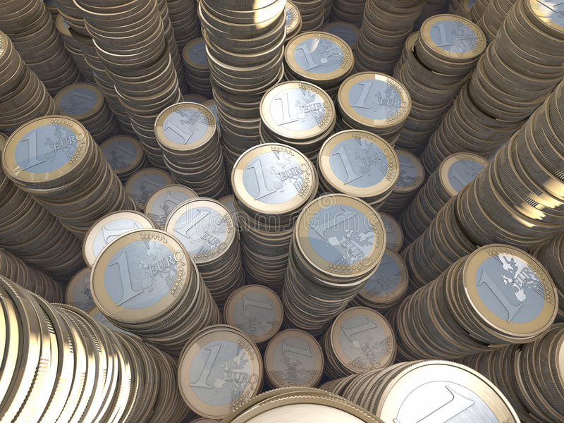 Group of euro coin piles, money hoard, wide-angle. Group of euro coin piles, money hoard, illustration, rendering, foggy depth-of-field royalty free illustration