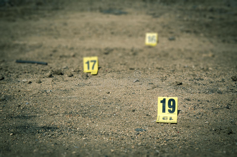 Group of evidence marker in crime scene investigation stock photos
