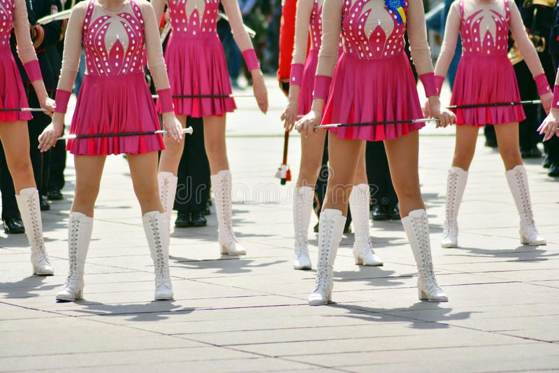 Cheerleaders closeup in a symmetrical formation royalty free stock images