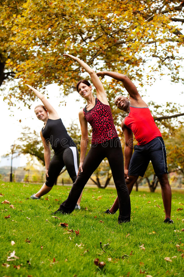 Group Exercise. A group of people exercising in a park stock images