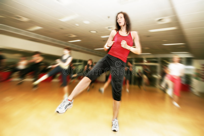Group exercise stock image