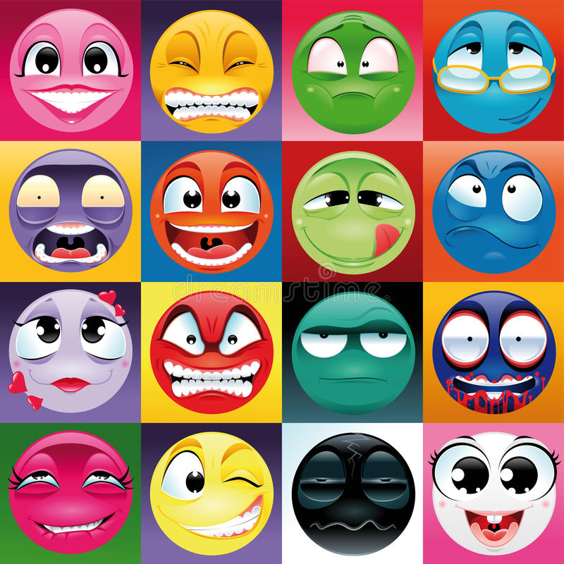 Group of expression with background royalty free illustration