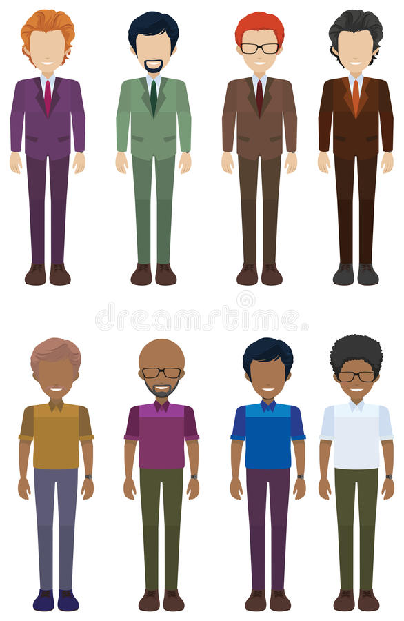 A group of faceless adults. On a white background royalty free illustration