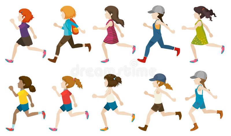 A group of faceless kids. Running on a white background stock illustration
