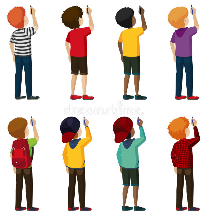 A group of faceless kids. Writing on a white background vector illustration