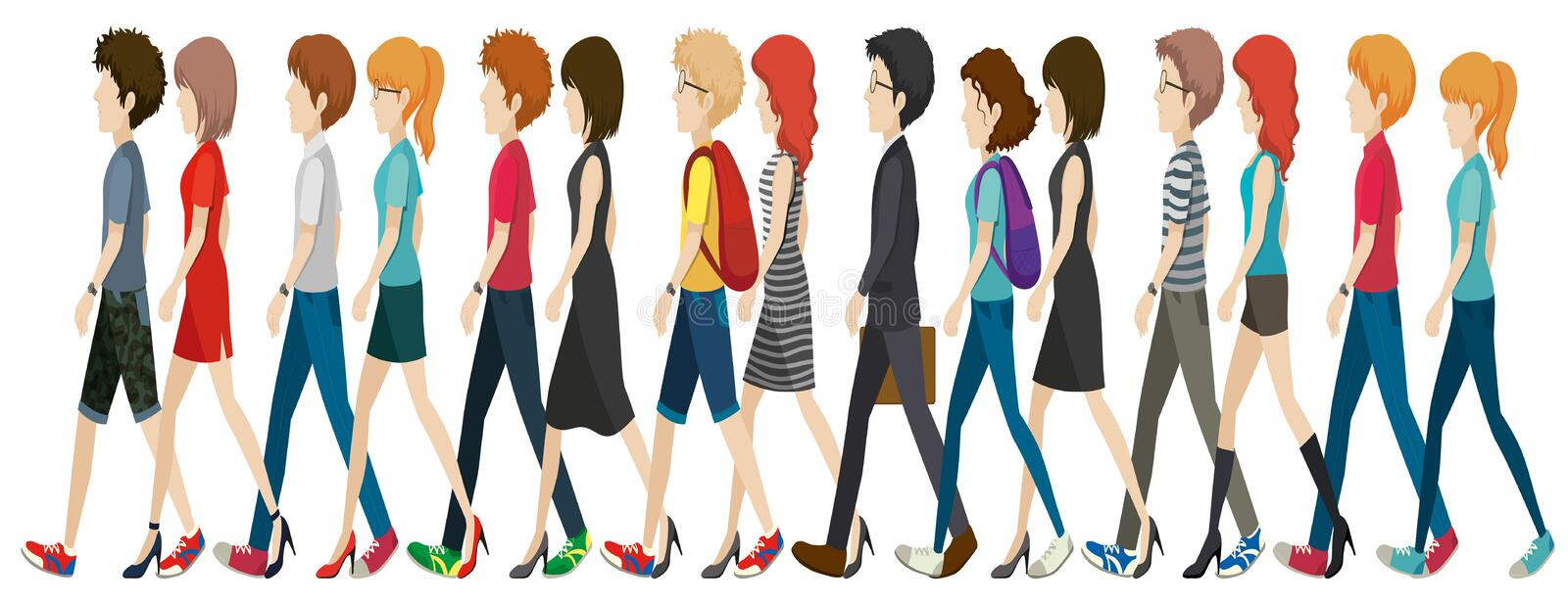 A group of faceless people walking in line. On a white background vector illustration