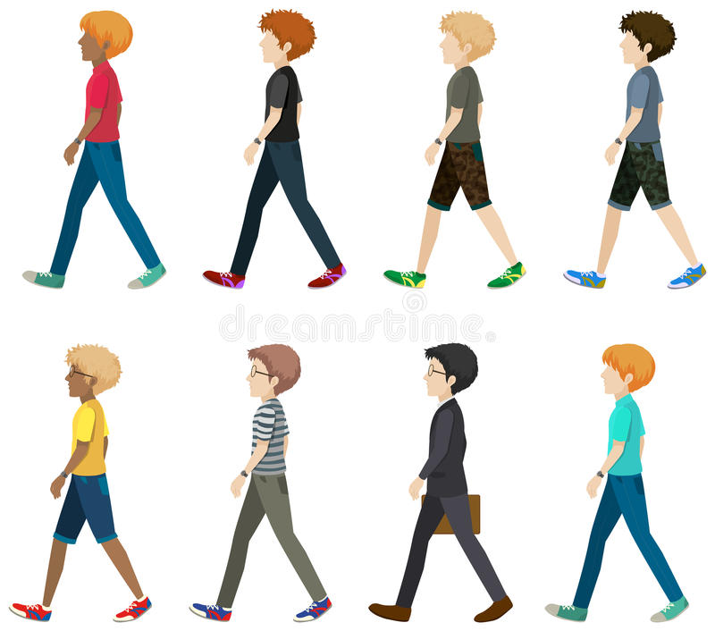 A group of faceless people. Walking in one direction on a white background stock illustration