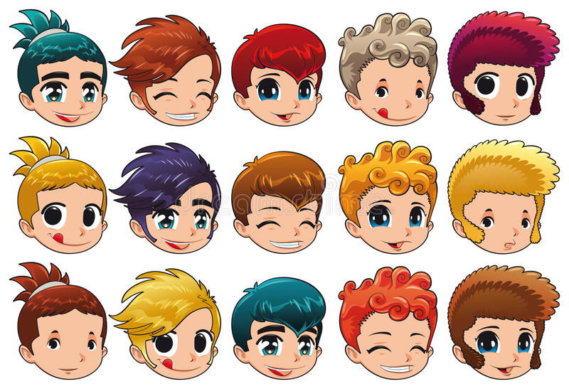 Download Group Of Faces With Different Expressions And Hair Stock Vector - Image: 18436378