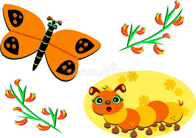 Group of Fall Colors. Here is a butterfly, caterpillar, and flowering plants in bright fall colors vector illustration