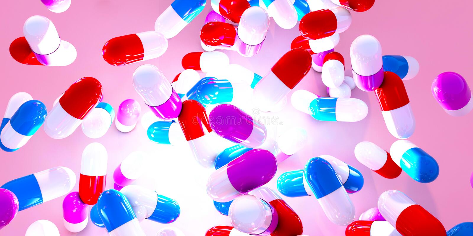 Group of falling capsules. With diet suplement, vitamin or medicine drug on pink background. 3d render stock illustration