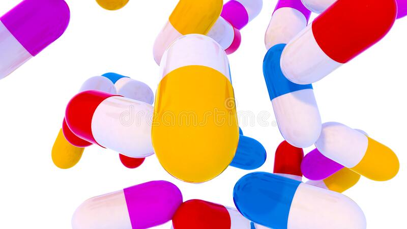 Group of falling capsules. With diet suplement, vitamin or medicine drug on white background. 3d render royalty free illustration