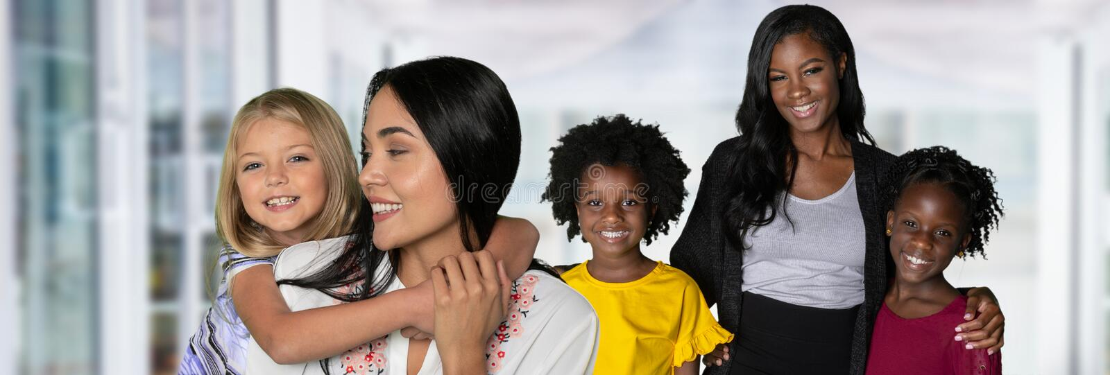 Group Of Families. Group of happy diverse families posing together stock images