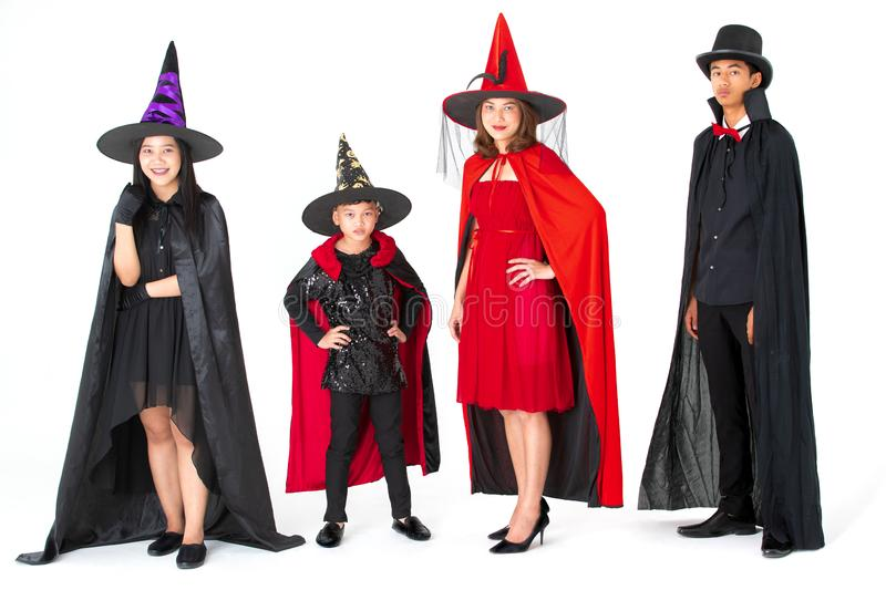 Group of family in fancy costume multiple style on white background. Concept for funny activity in halloween festival royalty free stock photo