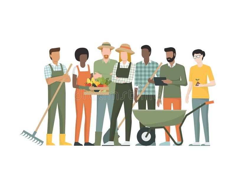 Group of farmers. Multiethnic team of farmers standing together, they are holding tools and a crate with organic vegetables royalty free illustration
