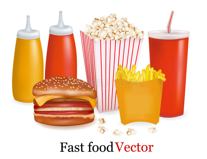 Group of fast food products. royalty free illustration