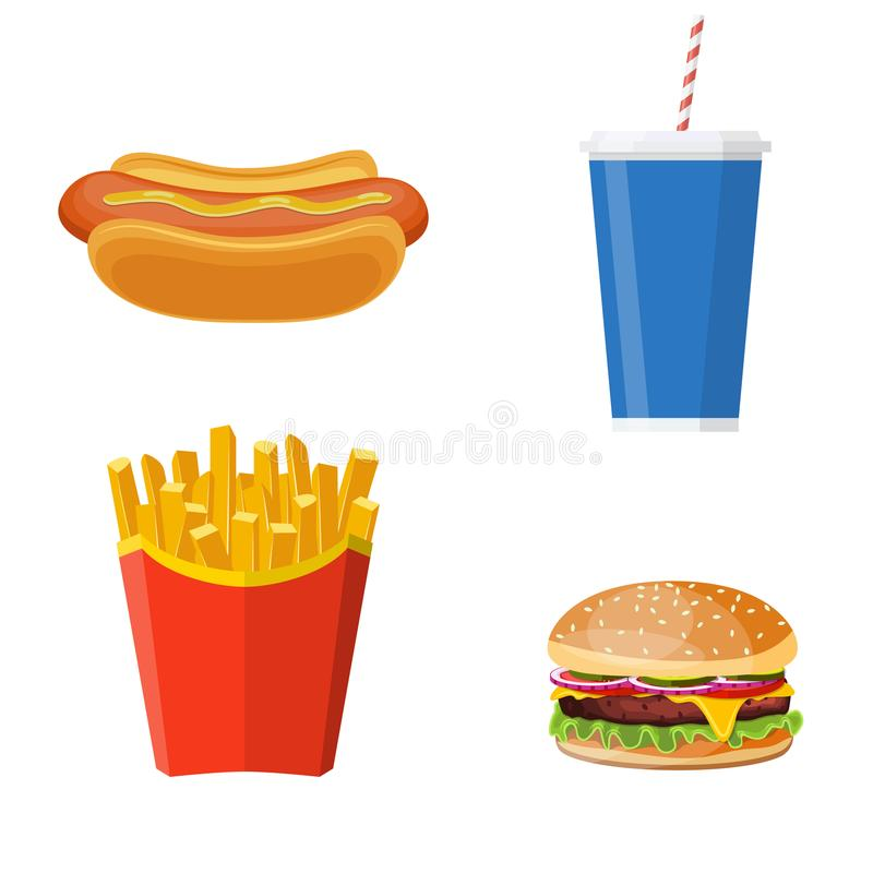 Group of Fast Food products royalty free illustration