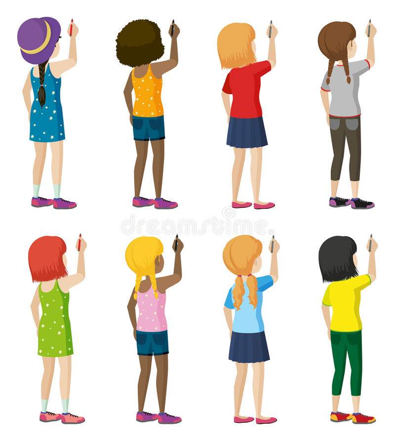 A group of female faceless kids writing. On a white background vector illustration