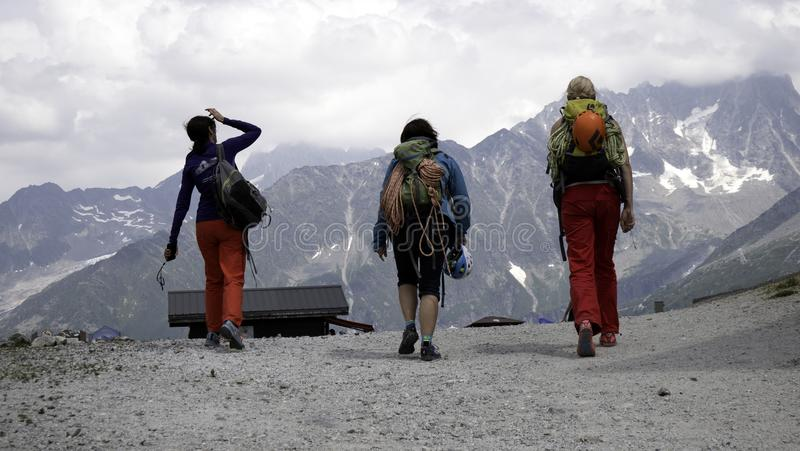 A Group of female Rock climbers in the High alpine mountains. royalty free stock photography