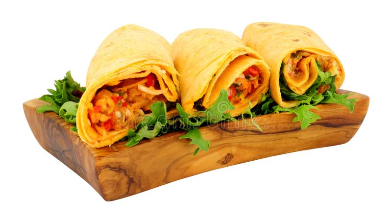 Group Of Filled Soft Tortilla Wraps stock images
